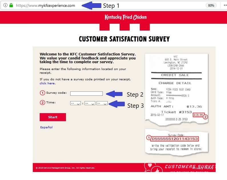 MyKFCExperience Step by Step survey guide