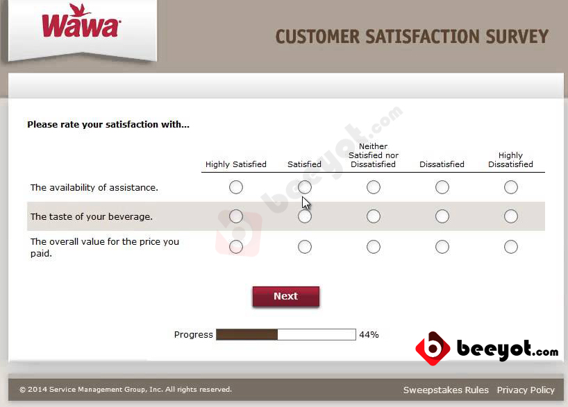 Wawa Survey Step 3 answer of the questions