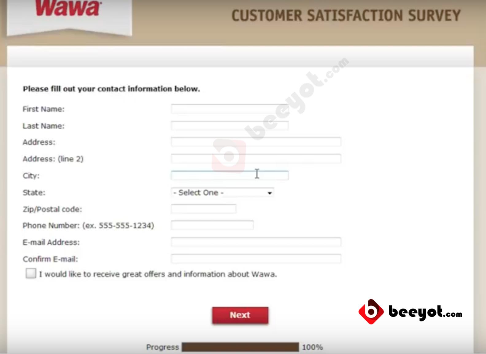 mywawavisit.com Step 4 Enter Personal Information